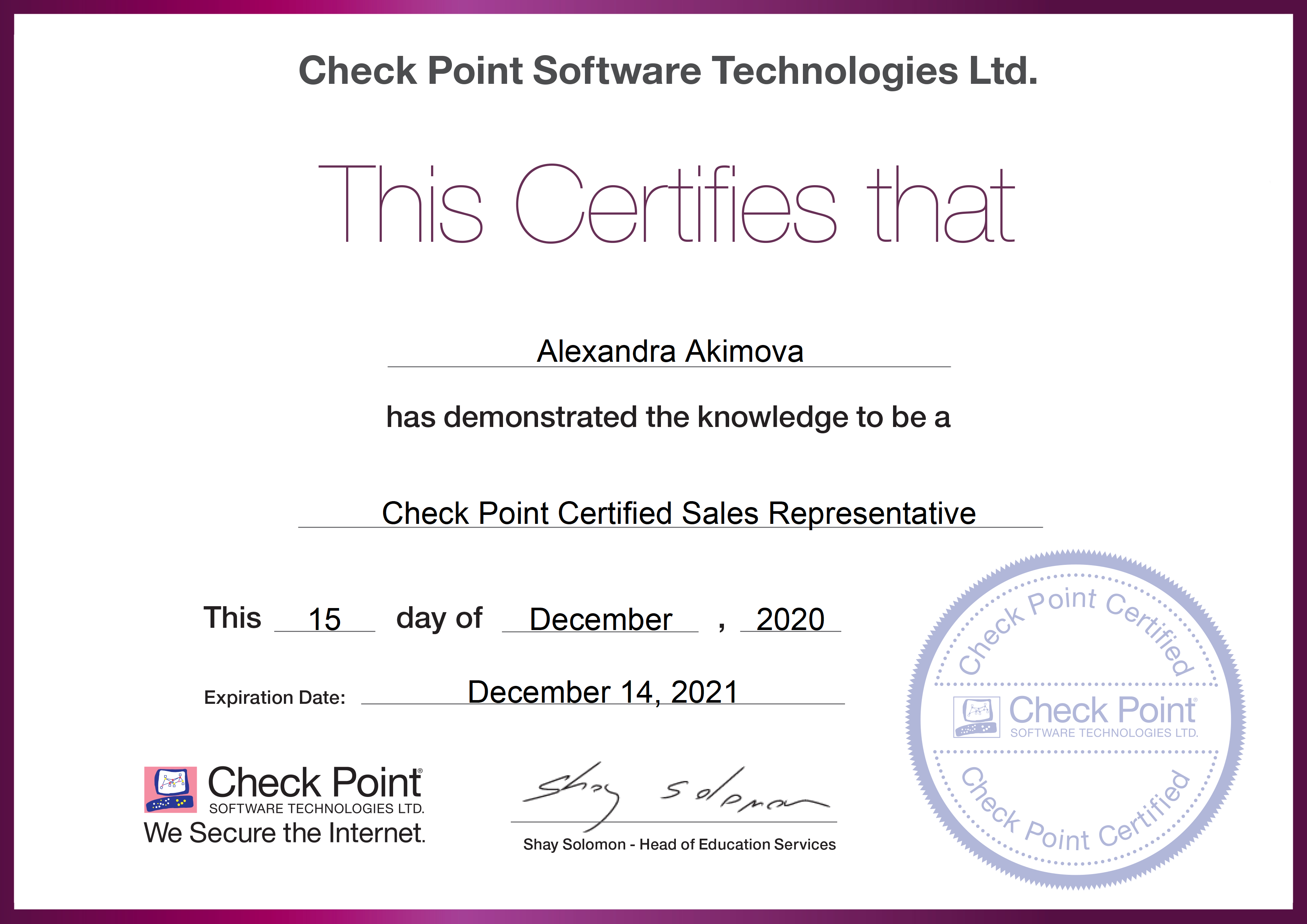Check Point Sales Certification