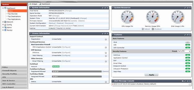 Первоначальная настройка Fortinet Fortigate 60e (FireWall), web, VPN